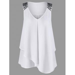 Plus Size Sequined Sleeveless Shoulder Overlap Blouse