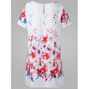 Floral T-Shirt Dress - WHITE 2XL
