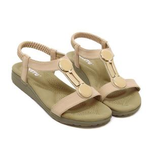 Elastic T Bar Flat Heel Sandals