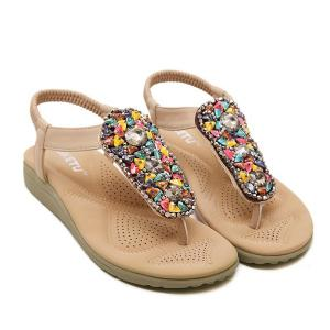 Faux Leather Elastic Band Beading Sandals - Apricot - 38