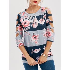 Floral Print Contrast Cut Out Tee - Floral - S