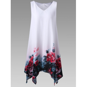 Plus Size Floral Sleeveless Handkerchief Dress