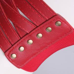Faux Leather Cross Bandage Elastic Corset Belt - RED