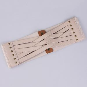 Faux Leather Cross Bandage Elastic Corset Belt - KHAKI