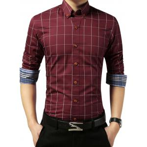 Slim Fit Grid Check Long Sleeve Shirt - Wine Red - L