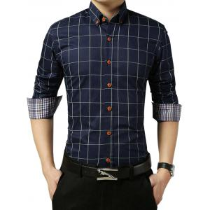 Slim Fit Grid Check Long Sleeve Shirt