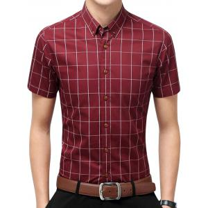 Slim Fit Short Sleeve Plaid Shirt - Wine Red - L