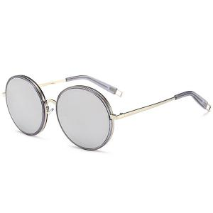 Hollow Out Leg Round Mirrored Sunglasses