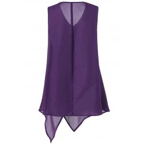 Plus Size Sleeveless V Neck Asymmetric Tank Top - DEEP PURPLE 3XL