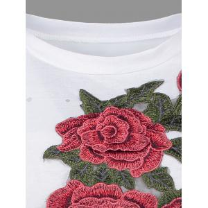 Distressed Floral Embroidered Mini T-shirt Dress - WHITE L
