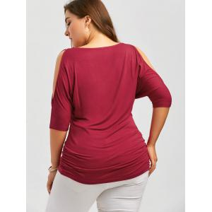Plus Size Rhinestone Cold Shoulder Top - RED 5XL