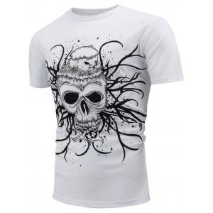 Skull Printed Color Changing T-Shirt - WHITE L