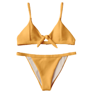 Textured Front Tied Bikini Set -