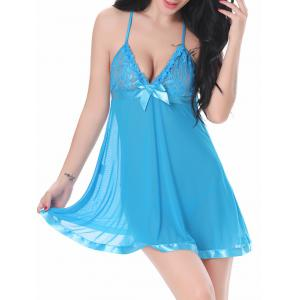 Lace Insert Mesh Sheer Lingerie Sleep Dress