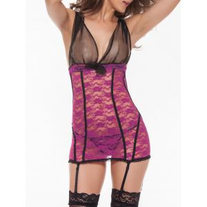 Lace Backless See Thru Lingerie Dress