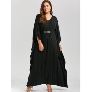 Plus Size Kaftan Maxi Dress - BLACK 4XL