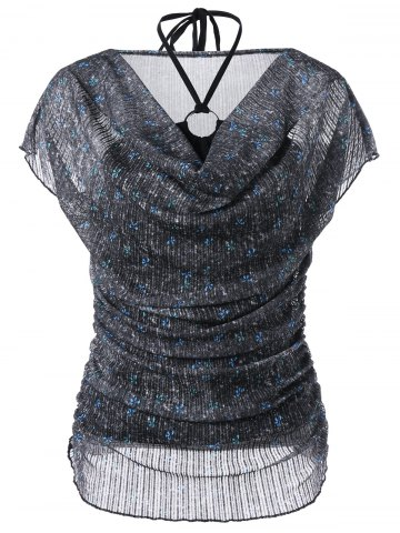 Voile Sheer Blouse and Halter Bandeau Tank Top - BLACK M