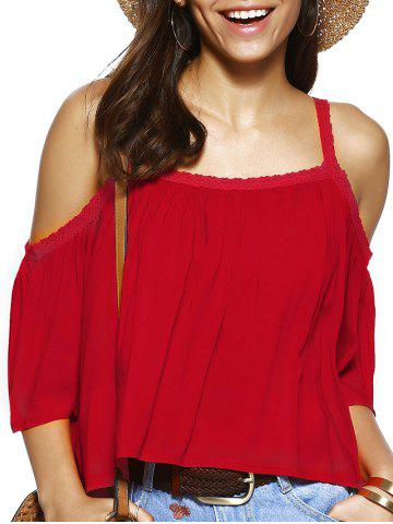 Shop Trendy Spaghetti Strap Solid Color Loose Fitting Blouse RED XL