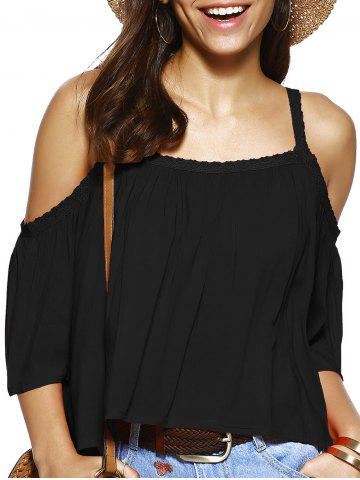 Trendy Spaghetti Strap Solid Color Blouse ample Noir S