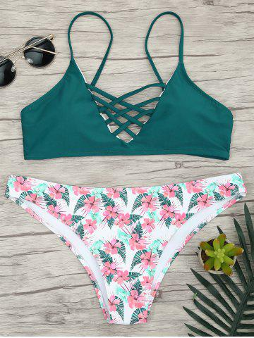 Cheap Criss Cross Bikini with Floral Pattern LAKE GREEN M