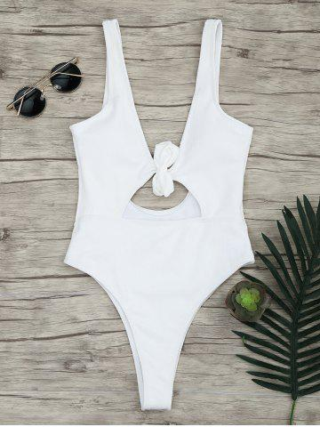 Affordable One Piece Ribbed Knot Backless Swimsuit WHITE M
