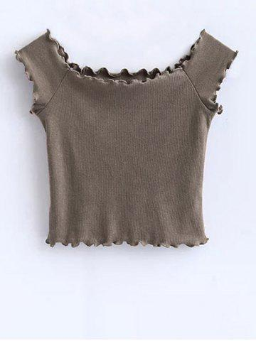 Outfit Ruffles Off Shoulder Crop Top KHAKI S