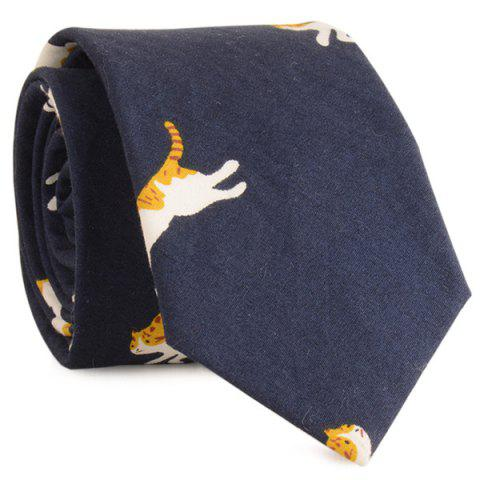 Unique Cotton Blended Cartoon Cat Printed Neck Tie - CADETBLUE  Mobile
