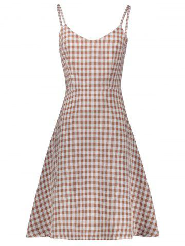 Store Plaid Sleeveless A Line Slip Dress