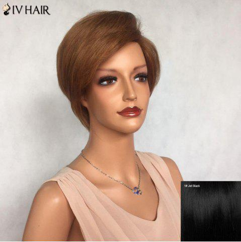 Best Siv Hair Side Bang Short Layered Glossy Straight Human Hair Wig - JET BLACK #01  Mobile