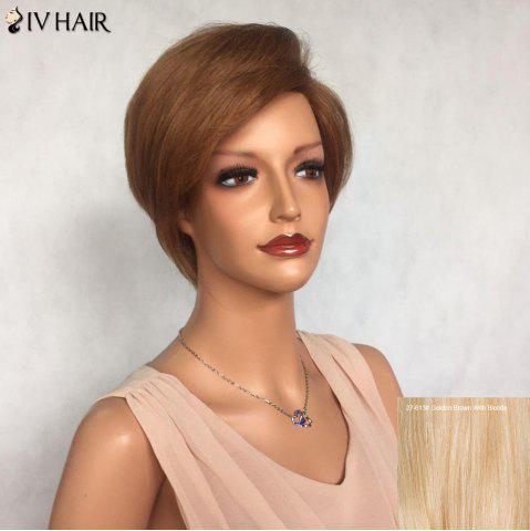 Cheap Siv Hair Side Bang Short Layered Glossy Straight Human Hair Wig - GOLDEN BROWN WITH BLONDE  Mobile