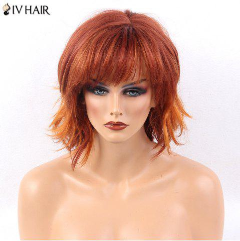 Sale Siv Hair Side Bang Layered Short Natural Straight Human Hair Wig - RED ORANGE  Mobile