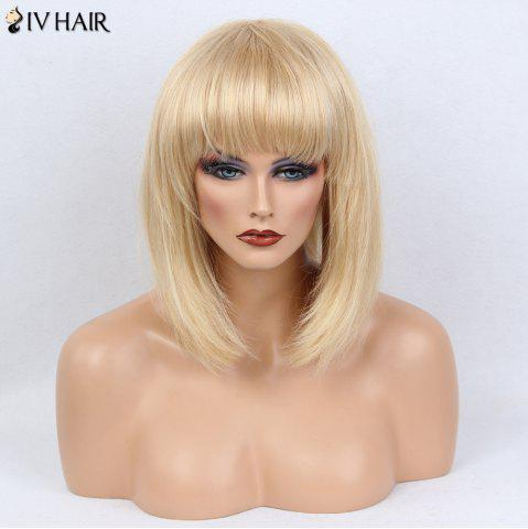 New Siv Hair Full Bang Medium Silky Straight Bob Human Hair Wig - GOLDEN BROWN WITH BLONDE  Mobile