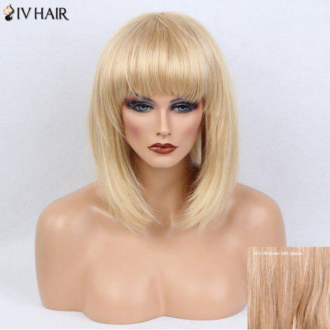 Trendy Siv Hair Full Bang Medium Silky Straight Bob Human Hair Wig - BROWN WITH BLONDE  Mobile