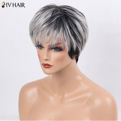 Shops Siv Hair Side Bang Straight Short Colormix Human Hair Wig - WHITE AND BLACK  Mobile