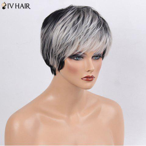 Best Siv Hair Side Bang Straight Short Colormix Human Hair Wig - WHITE AND BLACK  Mobile
