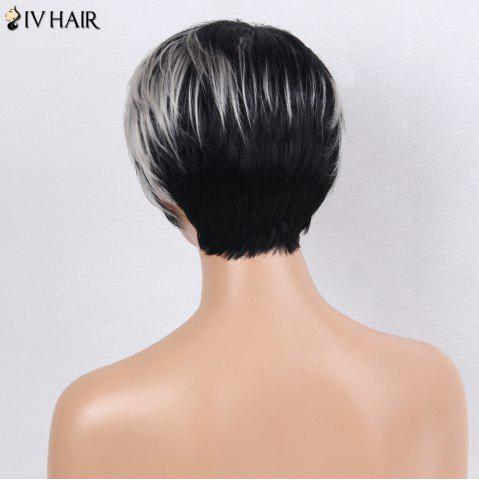 Affordable Siv Hair Side Bang Straight Short Colormix Human Hair Wig - WHITE AND BLACK  Mobile