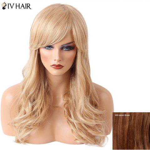 Affordable Siv Hair Long Side Bang Wavy Human Hair Wig - AUBURN BROWN #30  Mobile
