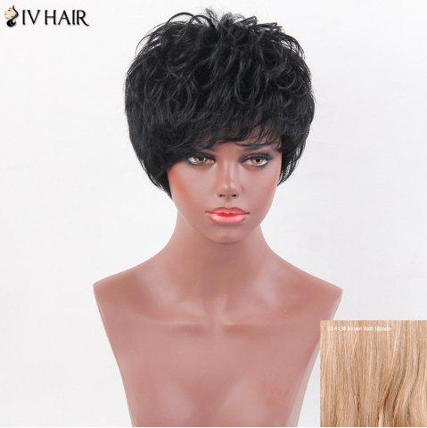 Best Siv Hair Layered Shaggy Short Side Bang Slightly Curly Human Hair Wig - BROWN WITH BLONDE  Mobile