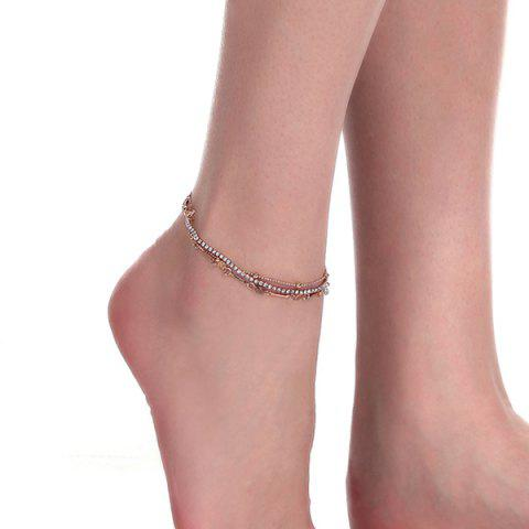 Unique Layered Rhinestone Rose Flower Chain Anklet - GOLDEN  Mobile