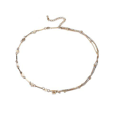 Shop Layered Rhinestone Rose Flower Chain Anklet - GOLDEN  Mobile