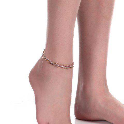 Discount Layered Rhinestone Rose Flower Chain Anklet - GOLDEN  Mobile