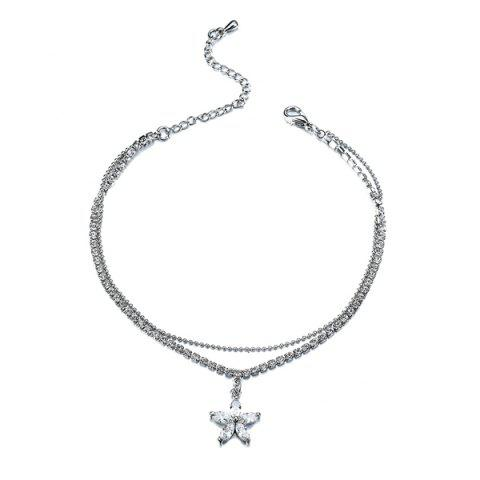 Fashion Rhinestoned Flower Charm Anklet - SILVER  Mobile