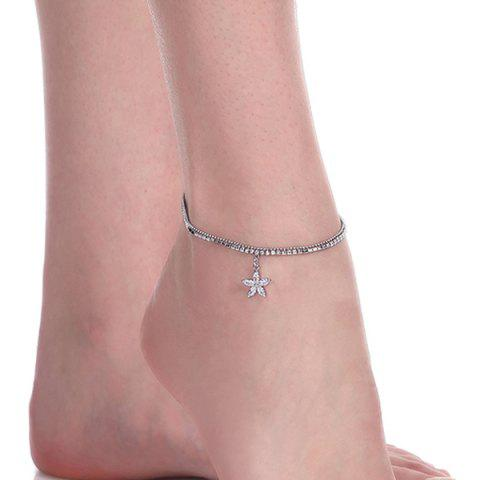 Affordable Rhinestoned Flower Charm Anklet - SILVER  Mobile
