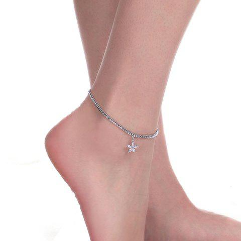 Unique Rhinestoned Flower Charm Anklet SILVER