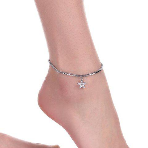 Discount Rhinestoned Flower Charm Anklet - SILVER  Mobile