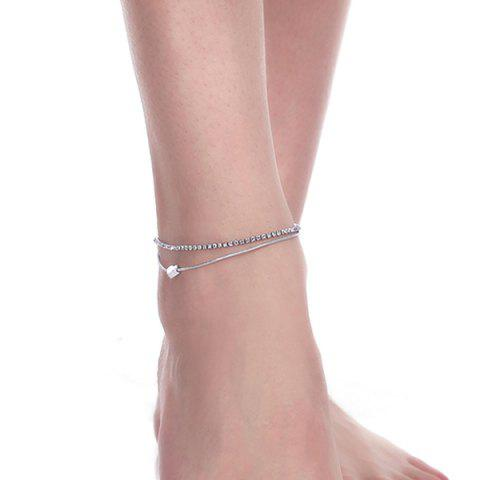 Trendy Rhinestone Layered Heart Charm Anklet - SILVER  Mobile