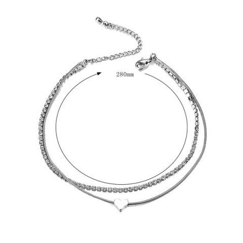 Online Rhinestone Layered Heart Charm Anklet - SILVER  Mobile