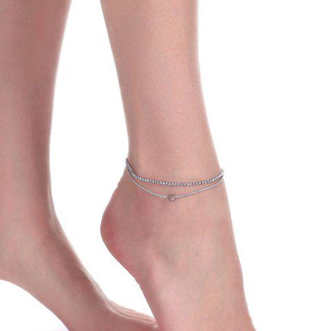 Unique Rhinestone Layered Heart Charm Anklet - SILVER  Mobile