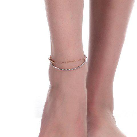 Discount Rhinestoned Star Multilayered Chain Anklet - GOLDEN  Mobile