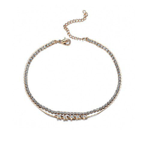 Unique Rhinestoned Star Multilayered Chain Anklet - GOLDEN  Mobile